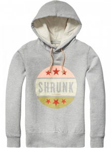 Bilde av Garment dyed hoody with artworks i grey melange fra Scotch