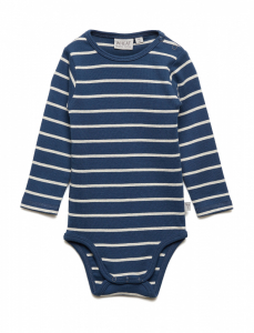 Bilde av Baby basic body stripete i indigo fra Wheat