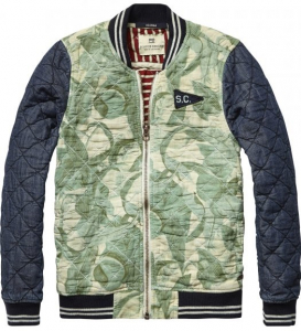 Bilde av Quilted bomber jacket with contrast sleeves fra Scotch