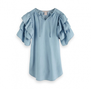 Bilde av Tencel dress with ruffle sleeves fra Scotch R`Belle
