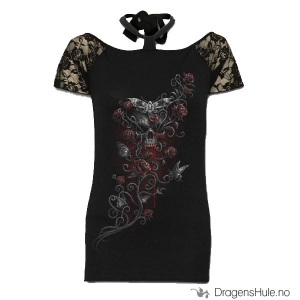 Bilde av Topp: Deaths Head Knotted Neckband Lace Shoulder