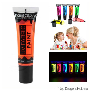 Bilde av Tekstilmaling: Neon Orange UV Fabric Paint -10ml PaintGlow