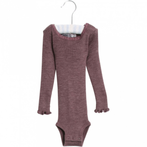 Bilde av Wool body lace i ensfarget plum melange fra Wheat