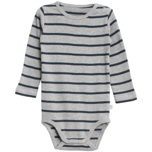 Bilde av Baby basic body stripete i melange grey navy fra Wheat