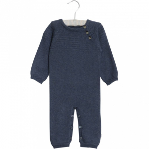 Bilde av Baby gutt heldress sailor knit greyblue melange fra Wheat