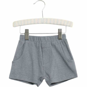 Bilde av Baby gutt shorts Aske stripete i dusty blue fra Wheat