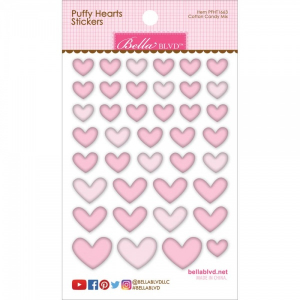 Puffy Heart stickers cotton candy mix