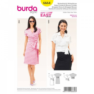 Bilde av 6664 Wrapped Dress / Blouse Burda Gul