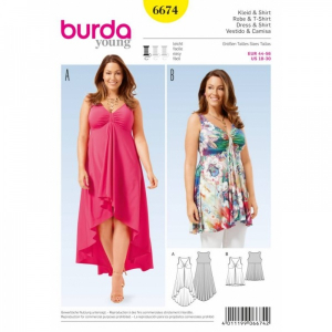 Bilde av 6674 Dress / Shirt Burda Gul
