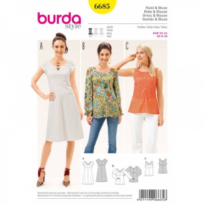 Bilde av 6685 Dress / Blouse Burda Gul