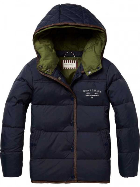 Down jacket with detachable double hood construction fra Scotch