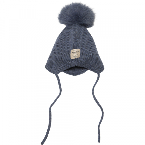 Ull Filie strikkelue i Peacoat Blue med fur fra Mini A Ture