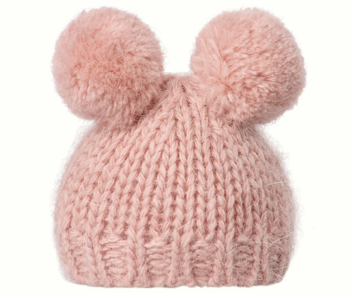 Best Friends knitted hat 2 pompom heather fra Maileg